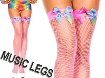 A167)MusicLegsレインボーリボンサイハイ網タイツネオンピンク蛍光ダンサーダンス衣装B系