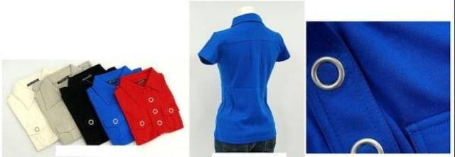 ◇アイレットボタンデザイン●フレンチスリーブシャツ3色選択 < 女性ファッションの