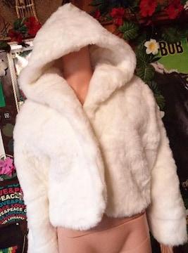 モコモコ可愛いッ(人´エ`*)フード付ファーコート☆ジャケット♪