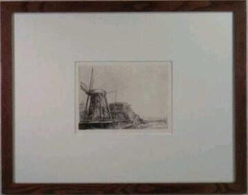 絵画 エリオグラヴュール レンブラント『小屋』真作保証