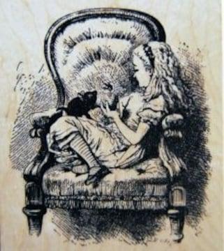 輸入スタンプ鏡の国のアリス(テニエル画)ウッドマウント<準大判>