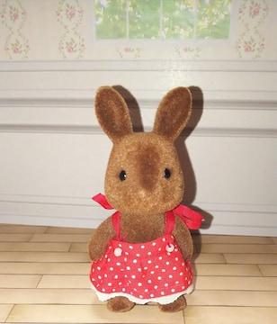 初期シルバニアファミリーブラウンタイプウサギの女の子うさぎ人形ドール