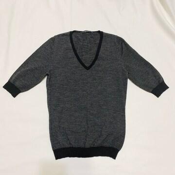 ルヴェルソーLe VerseaunoirVネック半袖セーター#40細ボーダー
