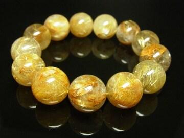 特大16ミリ数珠 タイチンルチルクォーツブレスレット 金針水晶パワーストーン 人気
