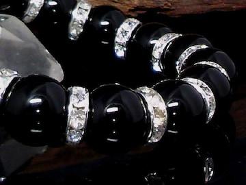 天然オニキス12ミリ銀ロンデル黒瑪瑙数珠