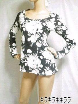 ◆LIP SERVICE/リップサービス美シルエット★モノトーン花柄*Aラインワンピ