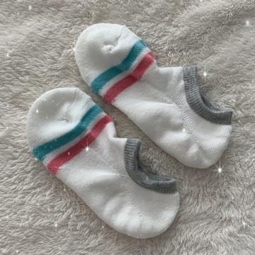 ●ボーダー柄ホワイトショートソックス・靴下●