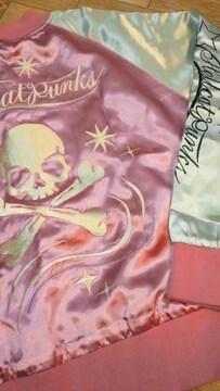 新品ヘルキャットパンクス【スカジャン】スカル刺繍pink×シルバー系【S】