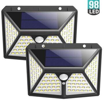 センサーライト 屋外 ソーラーライト 98LEDライト 4面発光