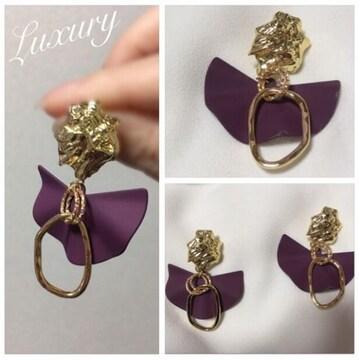 ゴールドチェーン×マットピアス【新品】Purple紫×Goldゴールド