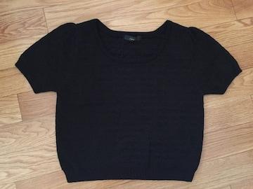 新品 rienda リエンダ 半袖 Tシャツ サマーニット 黒 ブラック トップス パフスリーブ