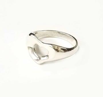 正規美品ティファニーハートリングオープンハート指輪シルハ