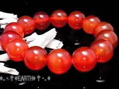 天然石★14ミリカーネリアンAAA紅玉髄数珠