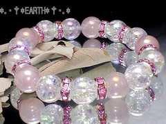 天然石★アクアクラック水晶&オーラローズクォーツ数珠