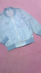 ギンガムチェック柄七分袖!薄手ブルゾンサックスブルー