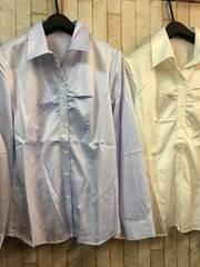 新品☆Lサイズ胸ギャザーシャツ2枚!オフィス制服事務服☆s869