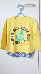 新品 未使用 長袖カットソー サイズ95 黄色 チェック