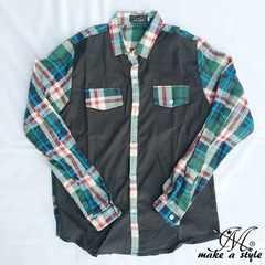 チェック柄 長袖シャツ L/Sシャツ CHECK 緑 グリーン 230XXL