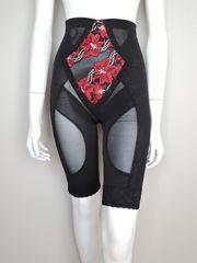 新品!4L90,黒/赤刺繍,高級チュールレース補正ロングガードル