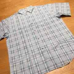 PLAYERS HOUSE スカイブルー�B半袖チェックシャツ   サイズXL