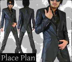 【Place plan】ロング丈シャンブレースーツ■AブラックM
