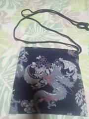 ☆新品紺×飛龍和柄ナナメ掛巾着袋