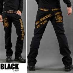プレイハンド刺繍ポケットチノパンツ黒