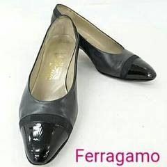 正規品 フェラガモ バイカラーパンプス ブラック パテント 黒