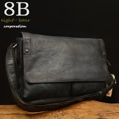 ◆牛本革 ムラ染め 大きめショルダーバッグ A4 フリップ◆黒b14