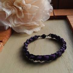 ブレスレット 紫スエード (手作り)