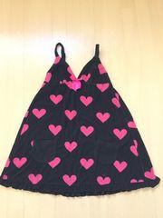 エメフィール/aimerfeel 黒×ピンクハート柄 バスローブ/部屋着 新品