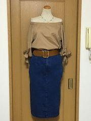 ジーナシス デニム素材の膝下タイトスカート♪