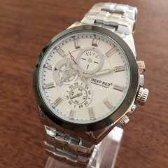 カシオ・セイコー好きの方にオススメ♪人気デザインメンズ腕時計★ホワイト
