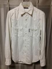ブルーブルー 長袖 ウエスタンシャツ Sサイズ1 無地 白 日本製 ハリウッドランチマーケット