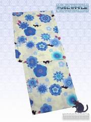 【和の志】女性用浴衣◇クリーム系・猫・花柄◇KWF652-23