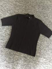 濃グレー 細かい編み目の上品半袖ニット 長め丈 Mサイズ