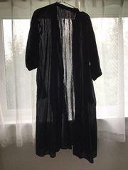 新品スタジオクリップM羽織り黒5部袖透け綿100%