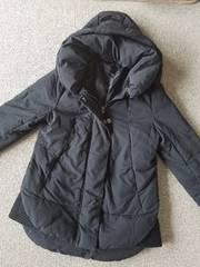 ジーナシス☆ビック襟フード付ジャケット中綿コート★黒