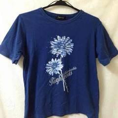 ネイビー フラワー お花 プリント コットン Tシャツ M