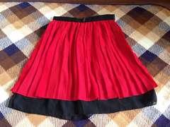 美品赤色レッドプリーツ膝丈スカート