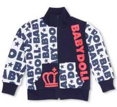 新品BABYDOLL☆ロゴ総柄 ジップジャケット 130 ネイビー ベビードール