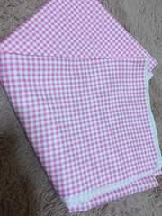 ピンク白チェック布110×98cm ★手芸はぎれ布