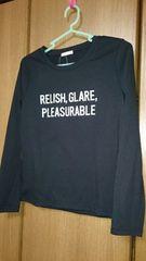 ロングTシャツ*黒/ブラック*英字*M