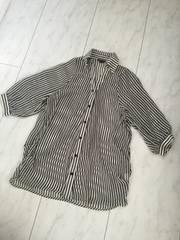 OVER LAP ストライプオーバーサイズシャツチュニック