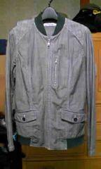 ジップアップジャケット ブルゾン Sサイズ ユーズド加工 グレー灰×黒 スイングトップ