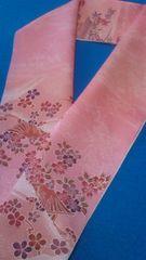 花簪半衿雅やかな風景文・山水楼閣ローズ色
