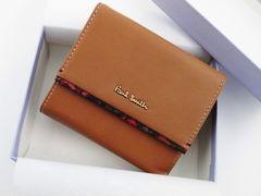 ギフトに☆新品/箱付 ポールスミス 二つ折り財布 キャメル f15