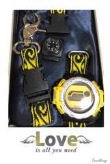 新品 サバイバル 時計 迷彩柄 黄 電池切れの為ジャンク