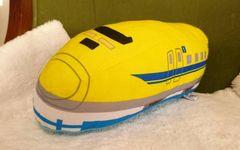 プラレールロゴ入り/923系ドクターイエロー新幹線洗えるミニ抱き枕クッション/西川