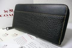 COACH テクスチャードレザー長財布12130黒 アウトレット正規品